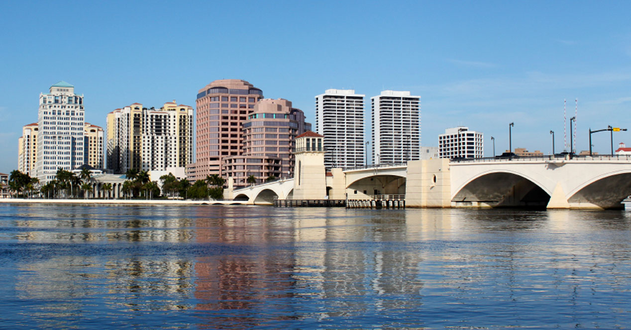 Experience the skyline of downtown Palm Beach